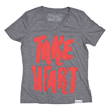 Take Heart Gray Women's Relaxed V-Neck
