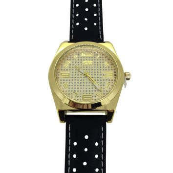 Smooth Polished Bezel Dress Watch Black Band