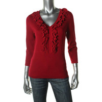 Cable & Gauge Womens Knit Ruffled V-Neck Sweater