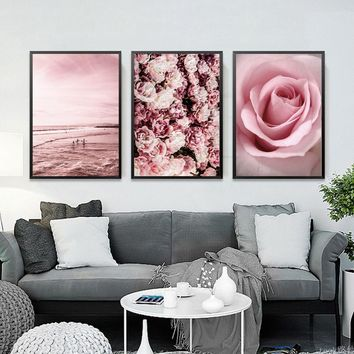 Pink Flower Beach Scandinavian Landscape Canvas Art Posters and Prints Wall Art Picture for Living Room Nordic Decoration Home