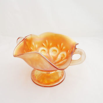 Vintage/Antique Dugan Carnival Glass 'Question Mark' bowl, Double Handled Bowl, 1910s, UK Seller