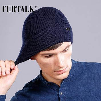 FURTALK 100% Wool Cashmere Men Winter Hat Knit Skullies Beanies Hats Male HTWL096