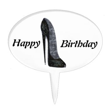 Black Elegant Stiletto High Heel Shoe Art Cake Topper
