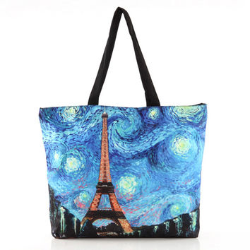 Eiffel Tower Van Gogh Paintings Shopper Bag