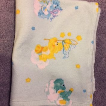 Vintage The Care Bears Baby Blue Full Size Blanket Fleece