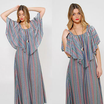 Vintage 70 STRIPED Maxi Dress METALLIC Tent Dress CAPELET Hippie Dress Boho Caftan O/S