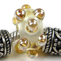 Large Hole Bead Transparent Clear Lampwork Bead Metallic Aurae Dots