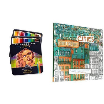 Fantastic Cities: A Coloring Book of Amazing Places Real and Imagined and Prismacolor Premier Soft Core Colored Pencil, Set of 48 Assorted Colors