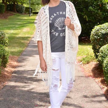 Southern Comfort cardigan, ivory