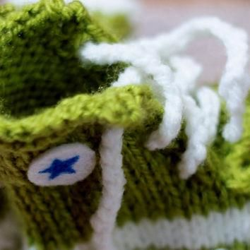Punk Rock Baby Booties - Green Converse Inspired Slippers