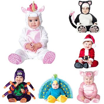 New Animal High Quality Baby Boys Girls Halloween Cat Peacock Costume Romper Kids performing hats and shoes Clothing Set Toddler