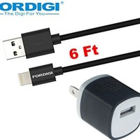 FORDIGI APPLE CERTIFIED Extra Long 6 Feet (2M) 8-Pin Cable to USB 2.0 Charger Cable Cord + FORDIGI 2 Tone Travel AC Power Wall Charger Adapter for iPhone(5/5S/5C), iPad Air, iPad Mini/Mini Retina, iPod Touch 5th Generation and iPod Nano 7th Generation (FOR