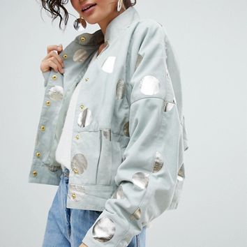 Selected Suede Jacket With Metallic Print at asos.com