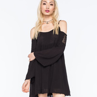 Chloe K Cold Shoulder Dress Black  In Sizes