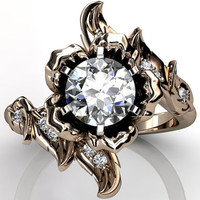 14k rose gold diamond unusual unique floral engagement ring, bridal ring, wedding ring ER-1071-3