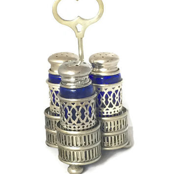 Vintage Silver Plate and Cobalt Glass Salt and Pepper Shakers with Holder, Filigree Design Made in Korea