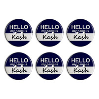 Kash Hello My Name Is Plastic Resin Button Set of 6