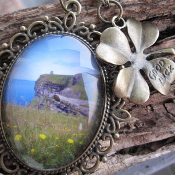 Cliffs of Moher Brass Cameo Necklace with Irish Clover Good Luck Charm - Handmade Ireland Pendant