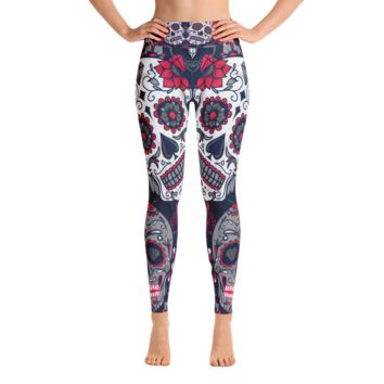 White Sugar Skulls Yoga Leggings