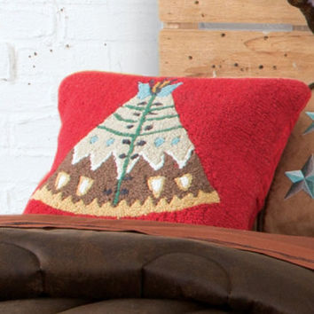 Teepee Hooked Pillow - Pillows - Home Decor - Home