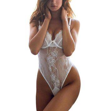 2 Color Sexy Teddy Lingerie Women Hot Whit Lace Women Lace Floral Sexy Soild Cup Underwear Bra Fashion Women Clothing Intimates