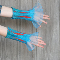 Nuno felted fancy cuffs, wrist warmers, blue and turquoise mittens, felted on blue chiffon. OOAK