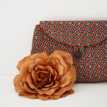 Brown and tangerine clutch, tangerine lining, retro: detachable strap