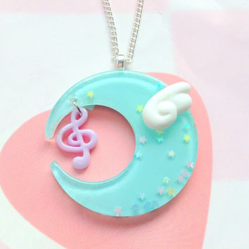 Pastel Blue Fairy Kei Moon Necklace With Kawaii Angel Wing and Music Note, Magical Girl Moon Keychain, Mahou Kei, Resin Blue Moon, Bag Charm
