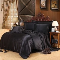 Black Luxury Bedding Sets Solid Satin 4 Pcs Queen/King Size Home Bedclothes Bed Linen Duvet Cover Set fitted sheet