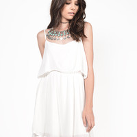 Tiered Pom Trim Gauze Dress