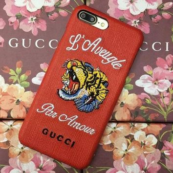 Personality Fashion Gucci tiger Embroidery iPhone Phone Cover Case For iphone 6 6s 6pl