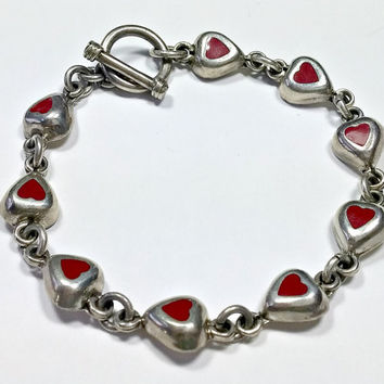 Vintage Heart Bracelet Sterling Silver Hearts with Red Coral Toggle Clasp 7.5 Inches Long Sweet Red Hearts Bracelet Hallmarked 925