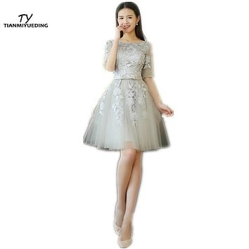 TIANMIYUEDING Cheap Cocktail Party Dresses 2017 Half Sleeves Lace Appliques Ruched Short Prom Dress Robe De Cocktail Longue
