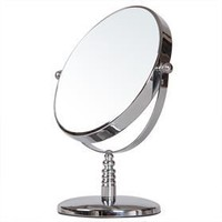 ADECO 6-inch Round Double-Sided Table-Top Cosmetic Makeup Mirror