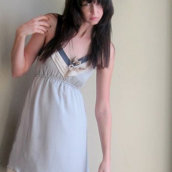 Minimalist silk dress - deep v-neckline with back zipper in neutral cloud grey - small
