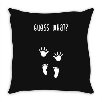 Guess What Baby Inside Pregnancy Announcement Throw Pillow