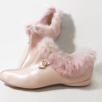 Vintage 60s Pink Slippers | 1960s Pixie Boot Slippers | House Shoes | Rabbit Fur Boudoir Slippers | Slipper Booties | Bedroom Slippers | 8.5