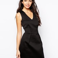 New Look Plunge Neck Satin Skater Dress at asos.com