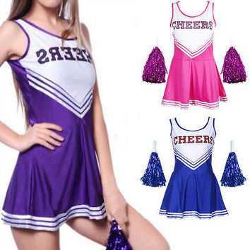 SEXY HIGH SCHOOL CHEERLEADER COSTUME GIRL UNIFORM OUTFIT FANCY DRESS HU
