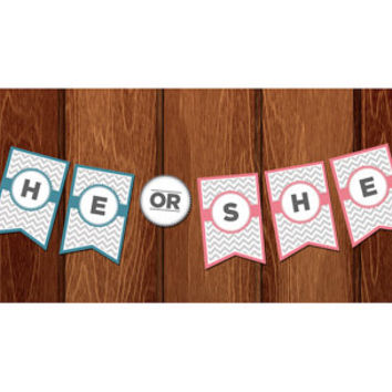 "Chevron ""He or She"" Gender Reveal Banner for instant download!"