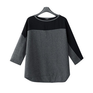 Black and Gray Color Block Half Sleeve Chiffon Top