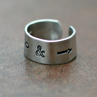 To Infinity and Beyond Ring - Hand Stamped Ring - Adjustable Aluminum Ring
