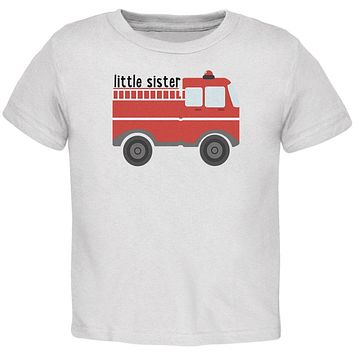 Little Sister Fire Truck Toddler T Shirt