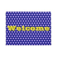 Royal Blue Morning Glory Floral Pattern Welcome Doormat