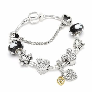 High Quality European Style Mickey Mouse Charm Bracelets & Bangle Original DIY Minnie Pandora Bracelet for Children Jewelry