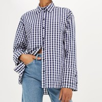 Gingham Double Cuff Shirt - Tops - Clothing