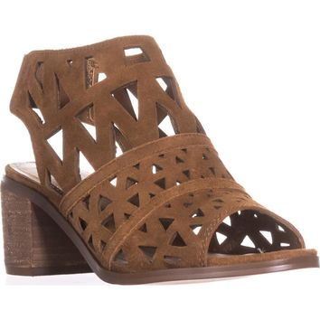 Steve Madden Estee Perforated Slingback Sandals, Cognac, 6 US