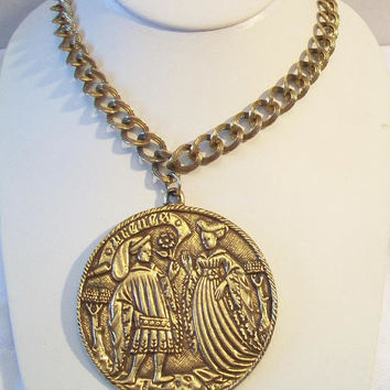 Big Vintage Renaissance Medallion Pendant Medieval Necklace Old World Jewelry