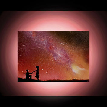 Proposal Painting - Stars - Engagement gift - Custom Spray Paint Art - Personalized Paintings on Canvas - Couple in Love