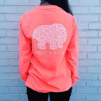 Fashion Women Popular Pink Back Ivory Ella Letter Cartoon Elephant Printed Floral Printed Long Sleeve Top T-Shirt I